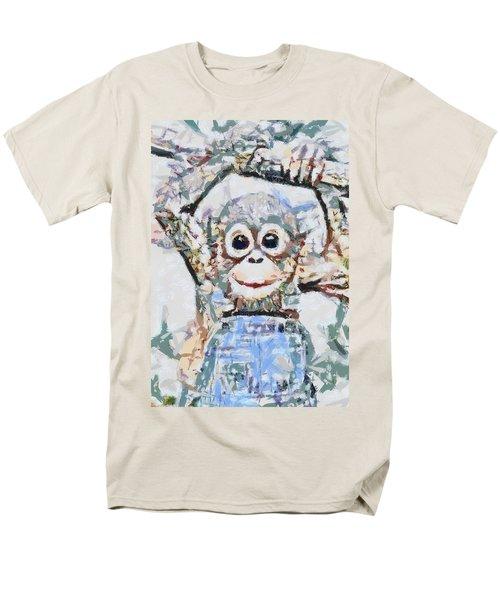 Monkey Rainbow Splattered Fragmented Blue Men's T-Shirt  (Regular Fit) by Catherine Lott