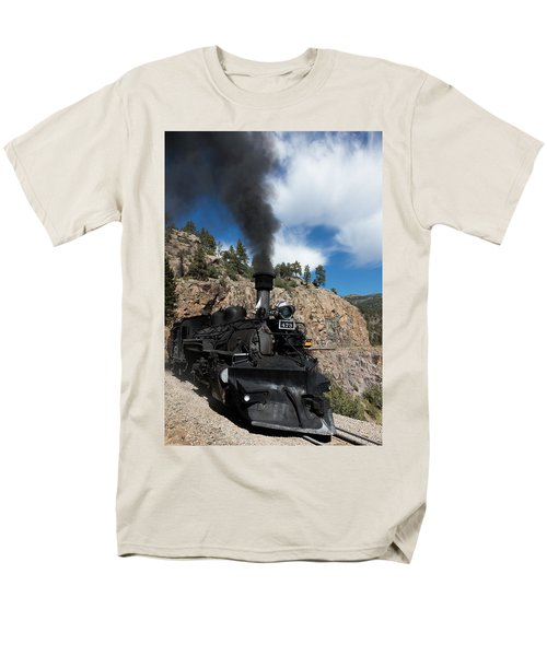 Men's T-Shirt  (Regular Fit) featuring the photograph A Durango And Silverton Narrow Gauge Scenic Railroad Train Chugs Through The San Juan Mountains by Carol M Highsmith