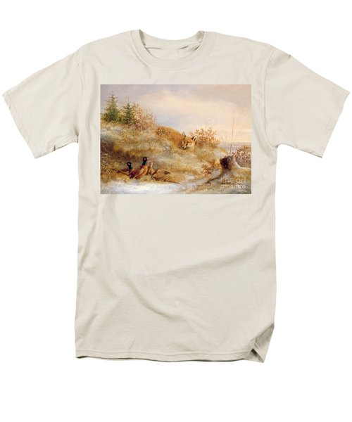 Fox And Pheasants In Winter Men's T-Shirt  (Regular Fit) by Anonymous