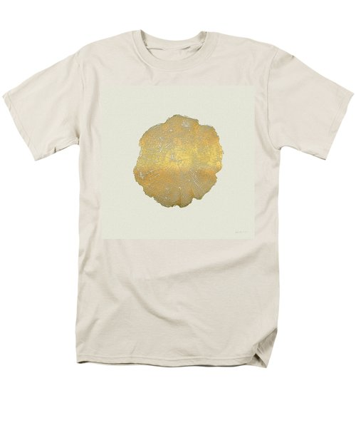 Rings Of A Tree Trunk Cross-section In Gold On Linen  Men's T-Shirt  (Regular Fit) by Serge Averbukh