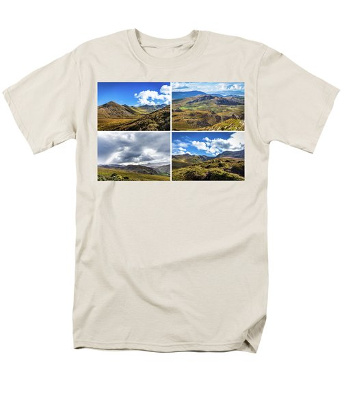 Men's T-Shirt  (Regular Fit) featuring the photograph Postcard Of Rock Formation Landscape With Clouds And Sun Rays In Ireland by Semmick Photo