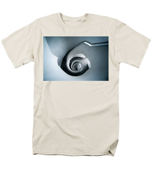 Men's T-Shirt  (Regular Fit) featuring the photograph Spiral Staircase In Blue Tones by Jaroslaw Blaminsky