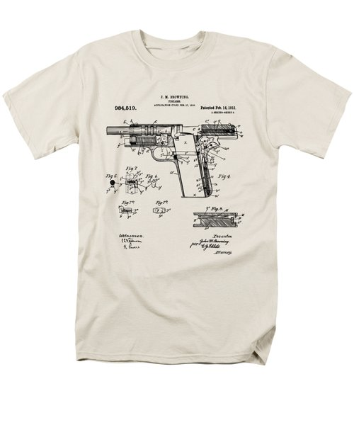 Men's T-Shirt  (Regular Fit) featuring the drawing 1911 Colt 45 Browning Firearm Patent 2 Artwork Vintage by Nikki Marie Smith
