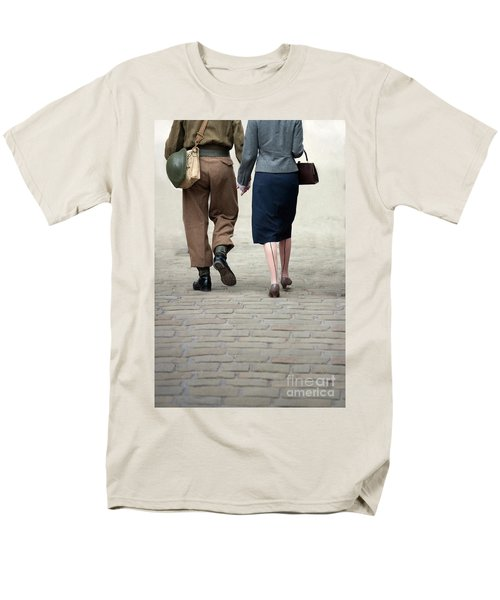 1940s Couple Soldier And Civilian Holding Hands Men's T-Shirt  (Regular Fit) by Lee Avison