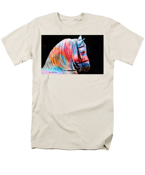 Men's T-Shirt  (Regular Fit) featuring the painting Abstract White Horse 19 by J- J- Espinoza