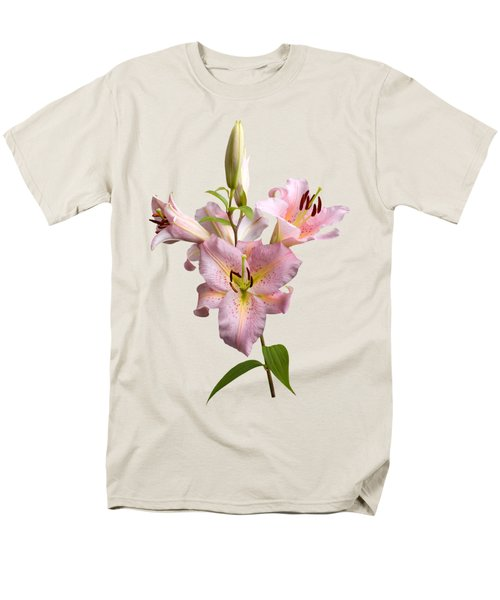 Pink Lilies On Cream Men's T-Shirt  (Regular Fit) by Jane McIlroy