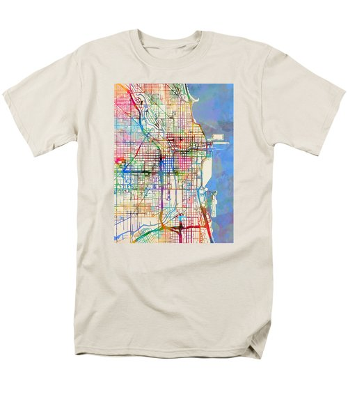 Chicago City Street Map Men's T-Shirt  (Regular Fit) by Michael Tompsett
