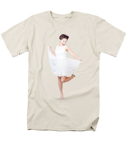 50s Pinup Woman In White Dress Dancing Men's T-Shirt  (Regular Fit) by Jorgo Photography - Wall Art Gallery
