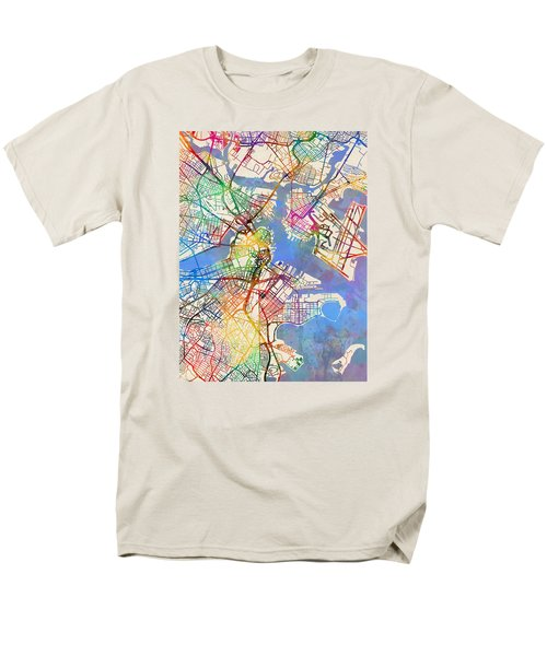 Boston Massachusetts Street Map Men's T-Shirt  (Regular Fit) by Michael Tompsett