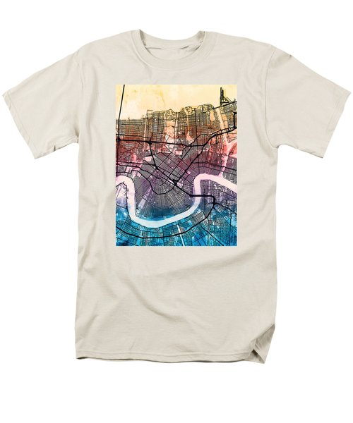 New Orleans Street Map Men's T-Shirt  (Regular Fit) by Michael Tompsett