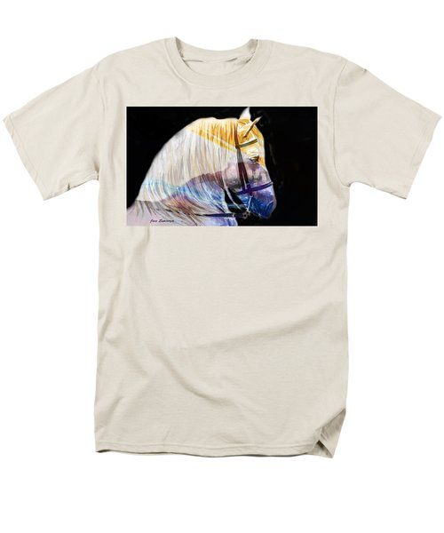 Men's T-Shirt  (Regular Fit) featuring the painting Abstract White Horse 50 by J- J- Espinoza