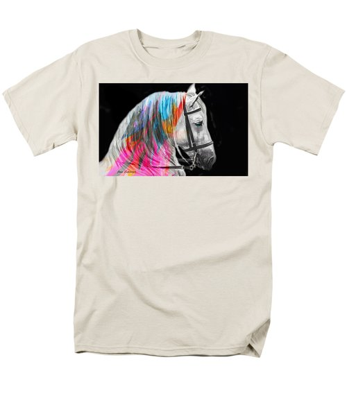 Men's T-Shirt  (Regular Fit) featuring the painting Abstract White Horse 54 by J- J- Espinoza