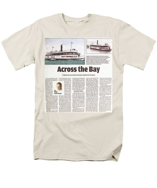 Men's T-Shirt  (Regular Fit) featuring the painting Toronto Sun Article Across The Bay by Kenneth M Kirsch