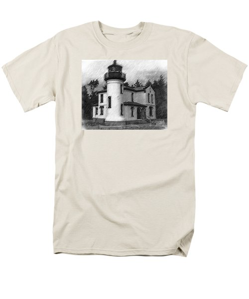 Men's T-Shirt  (Regular Fit) featuring the digital art Admiralty Head Lighthouse Sketched by Kirt Tisdale