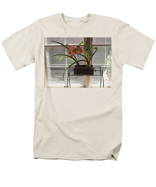 Men's T-Shirt  (Regular Fit) featuring the photograph Amaryllis And Window by Nancy Kane Chapman