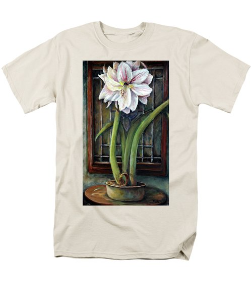 Men's T-Shirt  (Regular Fit) featuring the painting Amaryllis In The Window by Bernadette Krupa