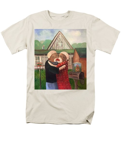 American Gothic The Monkey Lisa And The Holler Men's T-Shirt  (Regular Fit) by Randy Burns