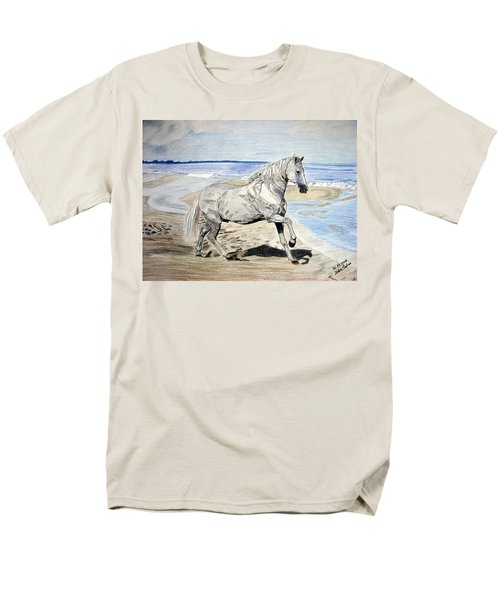 Men's T-Shirt  (Regular Fit) featuring the drawing Andalusian Horse by Melita Safran