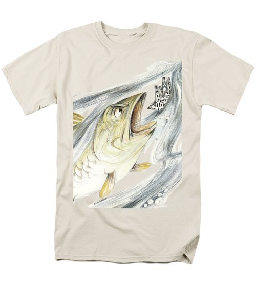 Angry Fish Ready To Swallow Tin Soldier's Paper Boat - Horizontal - Fairy Tale Illustration Fragment Men's T-Shirt  (Regular Fit) by Elena Abdulaeva