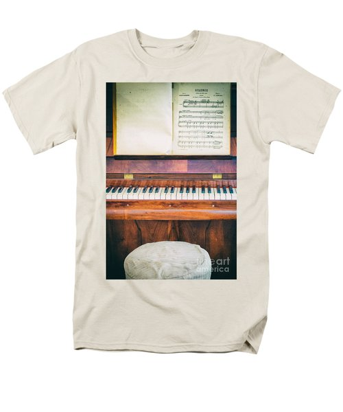 Men's T-Shirt  (Regular Fit) featuring the photograph Antique Piano And Music Sheet by Silvia Ganora