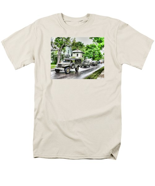 Army Jeeps On Parade Men's T-Shirt  (Regular Fit) by Rena Trepanier