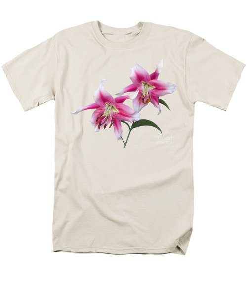 Pink And White Ot Lilies Men's T-Shirt  (Regular Fit) by Jane McIlroy