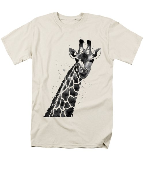 Giraffe In Black And White Men's T-Shirt  (Regular Fit) by Hailey E Herrera