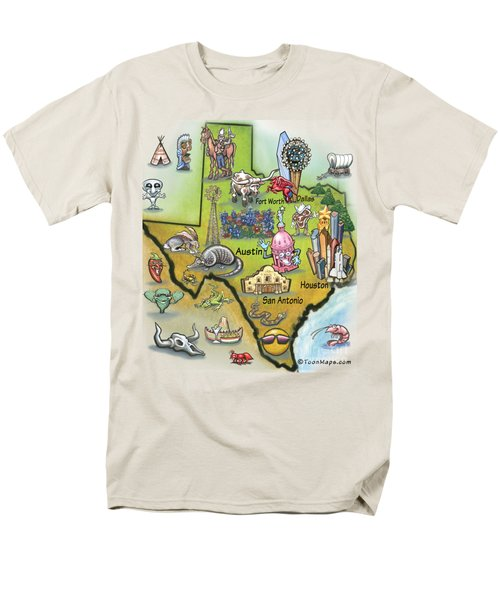 Texas Cartoon Map Men's T-Shirt  (Regular Fit) by Kevin Middleton