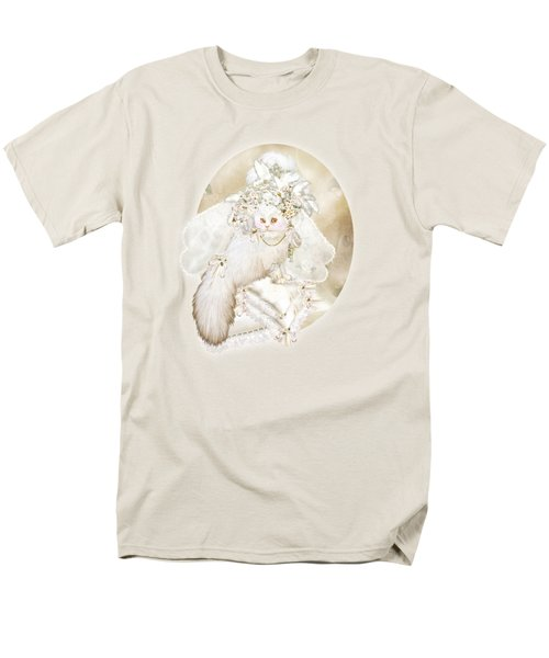 Men's T-Shirt  (Regular Fit) featuring the mixed media Cat In Fancy Bridal Hat by Carol Cavalaris