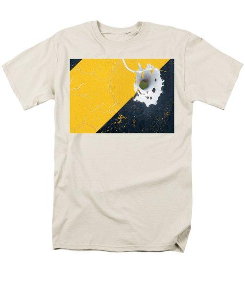 Bullet Hole On The Yellow Black Line Men's T-Shirt  (Regular Fit) by Bill Kesler