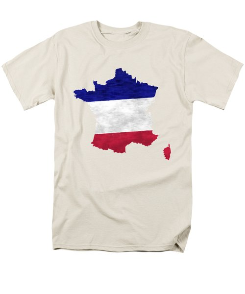 France Map Art With Flag Design Men's T-Shirt  (Regular Fit) by World Art Prints And Designs
