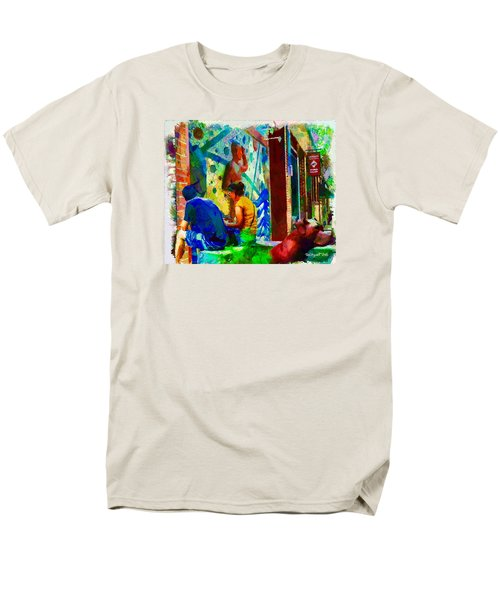 Men's T-Shirt  (Regular Fit) featuring the painting Ashville Art District by Ted Azriel