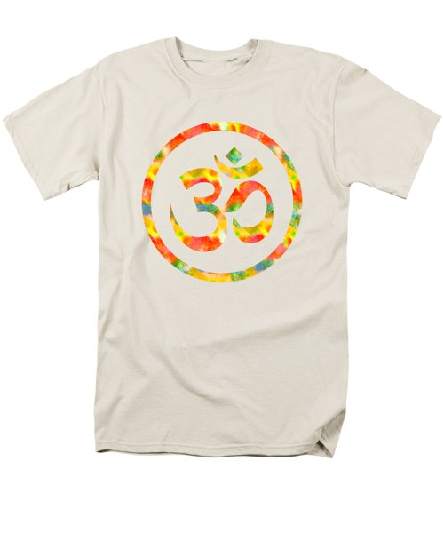 Men's T-Shirt  (Regular Fit) featuring the painting Aum Symbol Abstract Digital Painting by Georgeta Blanaru