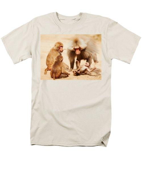 Baboon Family Having Fun In The Desert Men's T-Shirt  (Regular Fit) by Nick  Biemans
