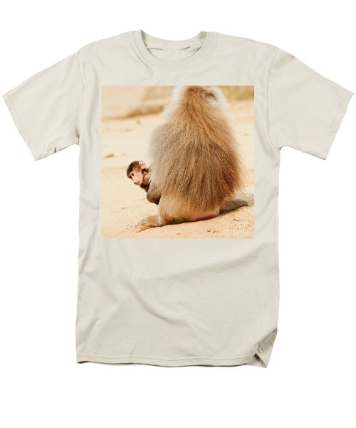 Baboon With A Baby  Men's T-Shirt  (Regular Fit) by Nick  Biemans