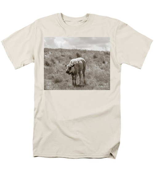 Men's T-Shirt  (Regular Fit) featuring the photograph Baby Buffalo In Field With Sky by Rebecca Margraf