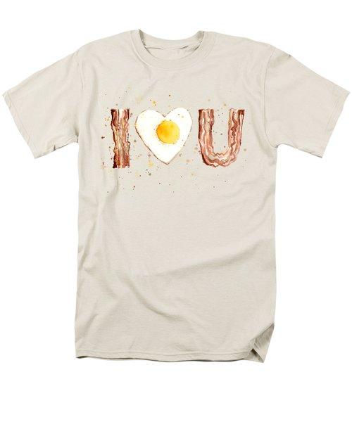 Bacon And Egg I Heart You Watercolor Men's T-Shirt  (Regular Fit) by Olga Shvartsur