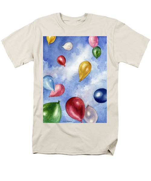 Men's T-Shirt  (Regular Fit) featuring the painting Balloons In Flight by Anne Gifford
