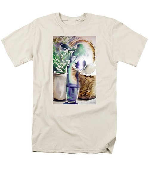 Men's T-Shirt  (Regular Fit) featuring the painting Basket And Bottle by Allison Ashton