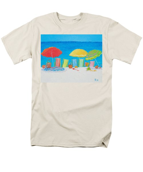 Beach Painting - Deck Chairs Men's T-Shirt  (Regular Fit) by Jan Matson