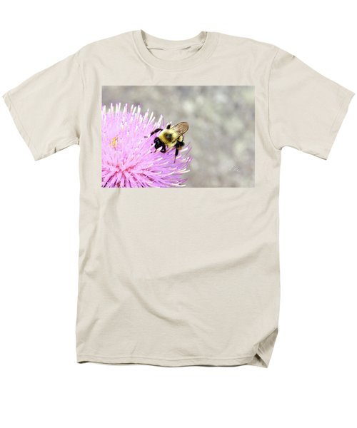 Men's T-Shirt  (Regular Fit) featuring the photograph Bee On Pink Bull Thistle by Meta Gatschenberger