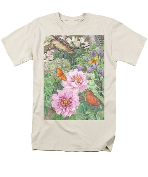 Men's T-Shirt  (Regular Fit) featuring the painting Birds Peony Garden Illustration by Judith Cheng