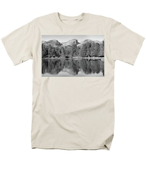 Men's T-Shirt  (Regular Fit) featuring the photograph Black And White Sprague Lake Reflection by Dan Sproul