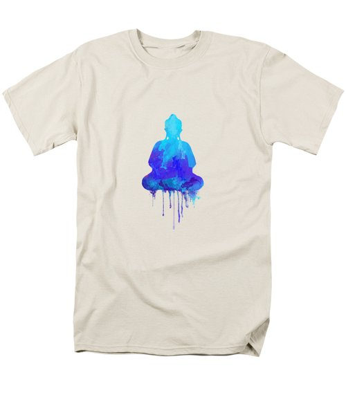Blue Buddha Watercolor Painting Men's T-Shirt  (Regular Fit) by Thubakabra