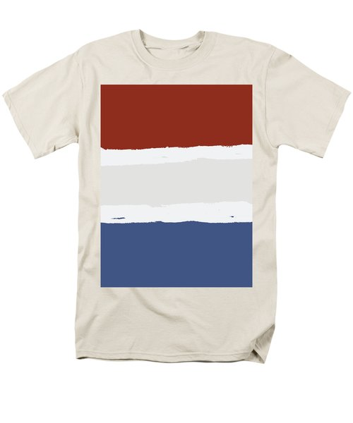 Blue Cream Red Stripes Men's T-Shirt  (Regular Fit)