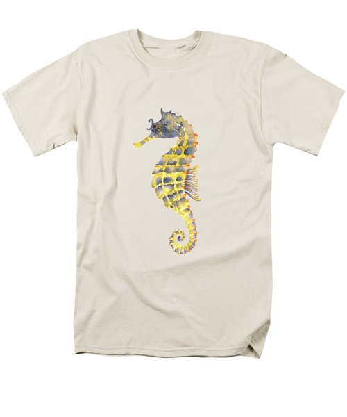 Blue Yellow Seahorse - Square Men's T-Shirt  (Regular Fit) by Amy Kirkpatrick
