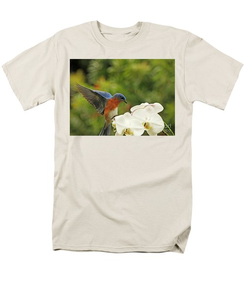 Bluebird Landing On Orchid Men's T-Shirt  (Regular Fit) by Luana K Perez