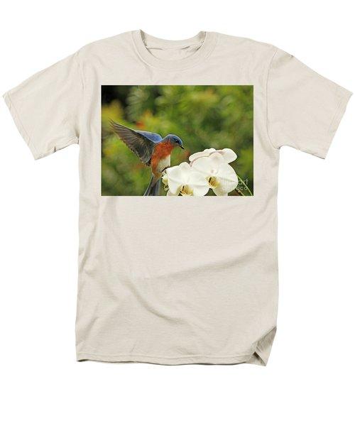 Bluebird Landing On Orchid Men's T-Shirt  (Regular Fit) by Luana K Perez