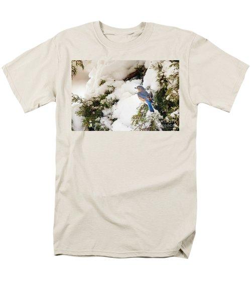 Men's T-Shirt  (Regular Fit) featuring the photograph Bluebird On Snow-laden Cedar by Robert Frederick