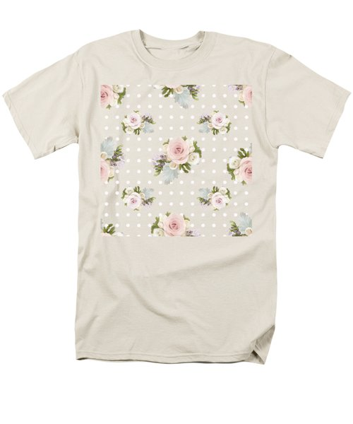 Men's T-Shirt  (Regular Fit) featuring the painting Blush Pink Floral Rose Cluster W Dot Bedding Home Decor Art by Audrey Jeanne Roberts
